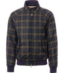 baracuta g9 winter soft shetland harrington jacket - melton blue check brcps0502