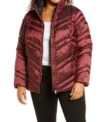 plus size women's sam edelman chevron quilted jacket, size 1x - burgundy