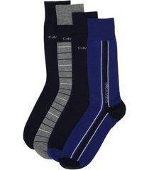 calvin klein men's 4-pack vertical striped logo dress socks