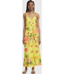 vestido desigual largo amarillo - calce regular