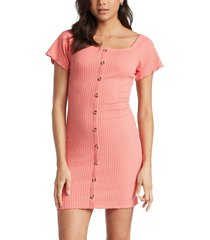 roxy sandy hills ribbed stretch cotton blend dress, size x-large in shell pink at nordstrom