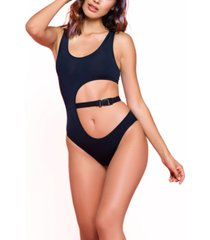 women's katlyn one piece microfiber bodysuit with belted cut out waist