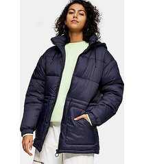 navy tie padded puffer jacket - navy blue