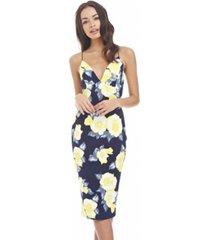 ax paris floral plunge front cross back dress