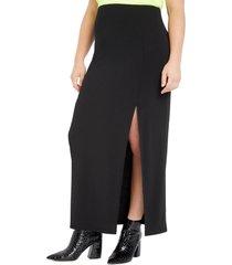 plus size women's eloquii side slit stretch matte jersey maxi skirt