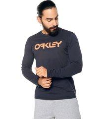 camiseta manga larga azul navy oakley