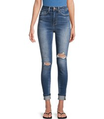 flying monkey women's high-rise distressed cropped jeans - blue - size 25 (2)