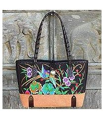 cotton shoulder bag, 'mandarin tropical in yellow' (thailand)