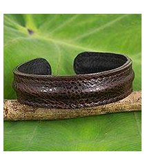 men's leather cuff bracelet, 'basic dark brown' (thailand)