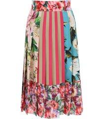 dolce & gabbana patchwork pleated skirt