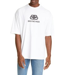 men's balenciaga bb graphic t-shirt, size large - white