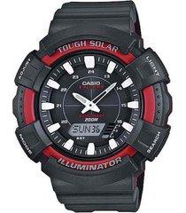 reloj casio para caballero ad-s800wh-4a color rojo/ recarga solar