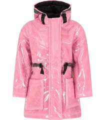 little marc jacobs pink parka for girl with logo