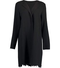 black collarless coat