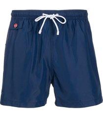 kiton short de natação com logo bordado - azul