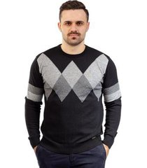 suéter de malha com losangos sumaré masculino