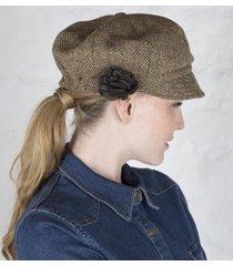 ladies irish wool newsboy cap beige