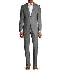 john varvatos star u.s.a. men's slim-fit glen plaid wool suit - grey - size 42 r