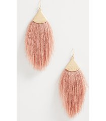 maurices womens blush oversized fringe earrings pink