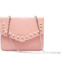 bolso sobre perlas color rosado, talla uni
