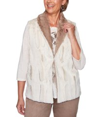 alfred dunner first frost reversible faux-fur vest