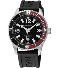 nautica men's analog black silicone strap watch 44 mm