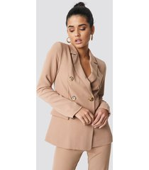 na-kd classic contrast buttons blazer - beige