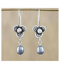 cultured pearl dangle earrings, 'three-petaled blossom in grey' (thailand)