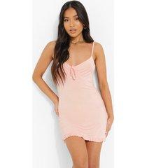 petite bodycon jurk met geplooide zoom en strik, blush