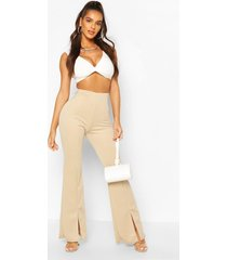 double layer twist front crop top, ivory