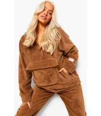 nepwollen oversized hoodie met zak detail, brown