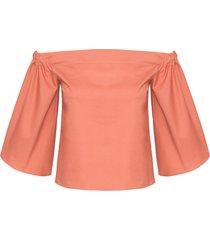 blusa feminina ombro a ombro - marrom