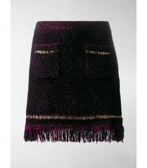 versace metallic threading fringed woven skirt