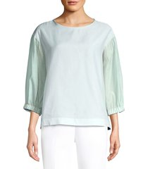 peserico women's long-sleeve voile silk-blend top - light turquoise - size 42 (6)
