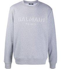 balmain logo-print cotton sweatshirt - grey