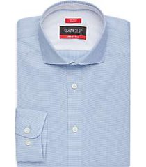 awearness kenneth cole awear-tech teal micro check slim fit dress shirt