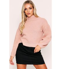 balloon sleeve knitted sweater, blush