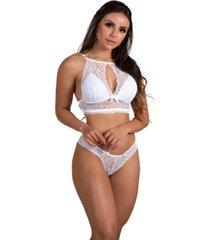 conjunto de lingerie em renda com suti㣠sem bojo estilo decote ms fashion branco - branco - feminino - dafiti