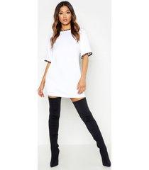 luipaardprint t-shirtjurk met contrasterende zoom, white
