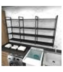 prateleira industrial lavanderia aço cor preto 180x30x98cm cxlxa cor mdf preto modelo ind58plav