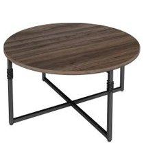 mesa de centro redonda tijuca marrom e preta
