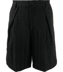 ann demeulemeester straight-leg bermuda shorts - black
