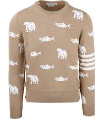 thom browne bear and salmon sweater