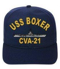 uss boxer cva-21 embroidered ship cap