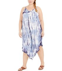 raviya plus size tie-dyed jumpsuit swim cover-up women's swimsuit