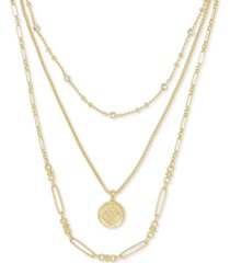 "kendra scott 14k gold-plated crystal & medallion charm layered necklace, 16"" + 2"" extender"