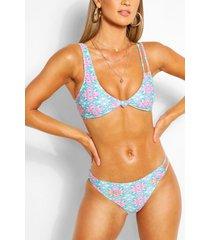 tile print knot front triangle bikini, coral