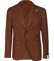 caramel brown cotton blend blazer