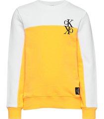 colour block monogram sweatshirt sweat-shirt trui geel calvin klein