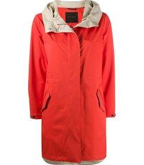moorer hooded drawstring coat - orange